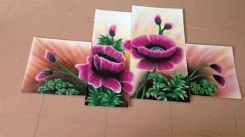 Tranh đá quý hoa ghép (bộ 4 tranh)