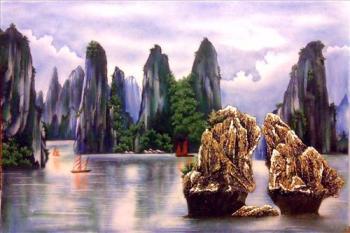 Tranh đá quý vịnh hạ long 01(95x135cm)