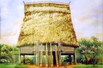 Tranh đá quý nhà rông Tây Nguyên (75x105cm)