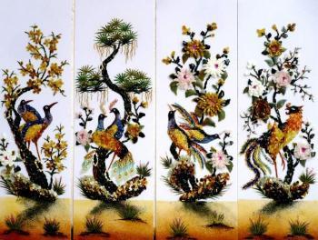 Tranh đá quý tứ quý Mai Tùng Cúc Trà (45x105cm)