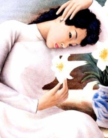 Tranh đá quý thiếu nữ bên hoa huệ