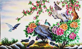 Tranh đá quý hoa mẫu đơn chim công