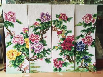 Tranh đá quý hoa hoa hồng dây (35x80)