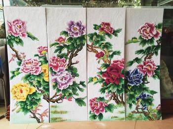 Tranh đá quý hoa hoa hồng dây (40x85)
