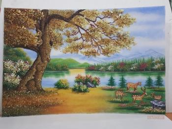 Tranh đá quý cây sồi (95x135)